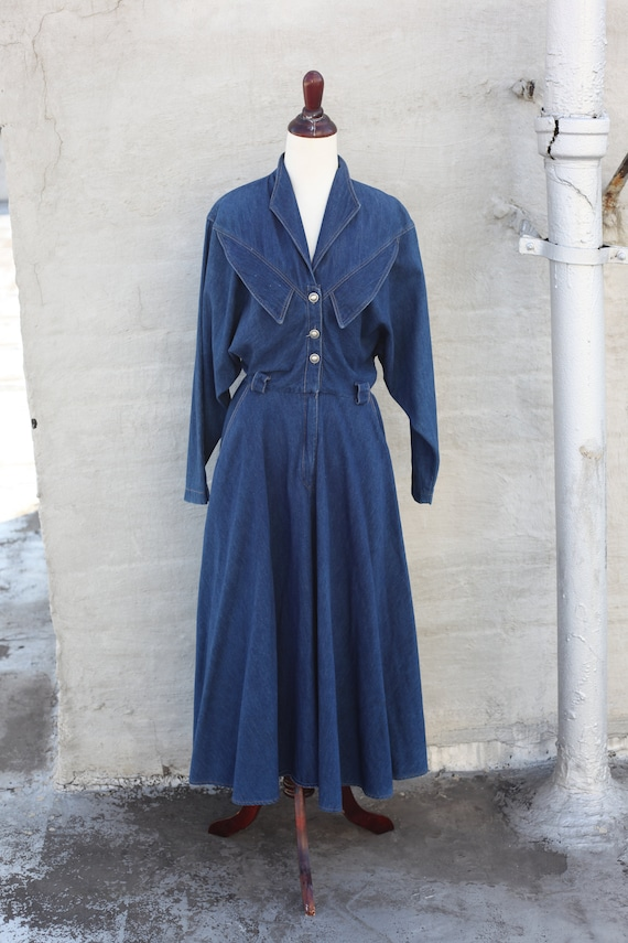 VINTAGE 1980s Denim Western Midi Dress - Size M