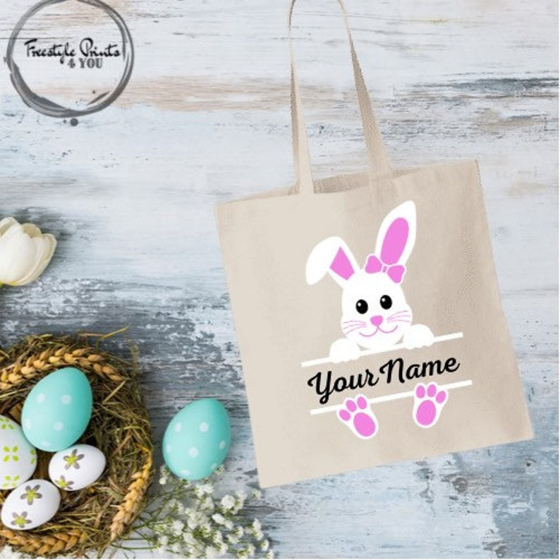 Personalized Easter Bunny Tote Bags  Kids Egg Hunt Bag  Easter Bags  Boys and Girls Easter Tote Bags
