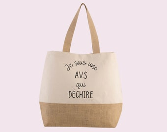AVS tote/jute tote/custom bag/end-of-year gift/AVS gift/AESH gift