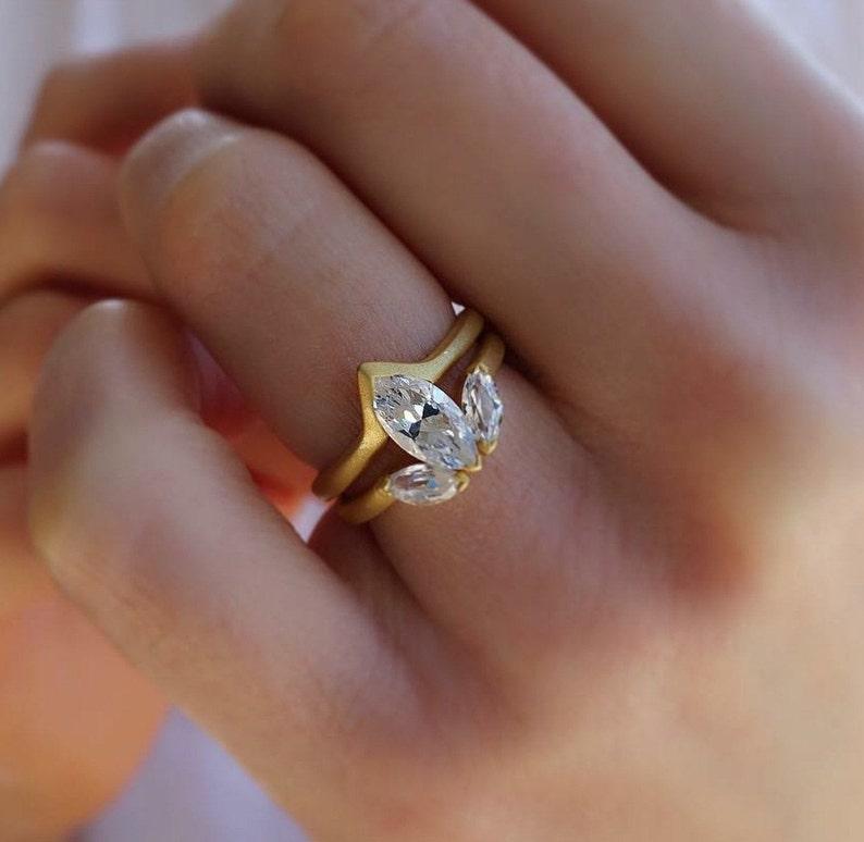 Moissanite Wedding Set Bridal Set Vintage Engagement Ring Matching Ring Couple Ring Anniversary Gift Vintage Ring 14K Gold Ring Promise Ring