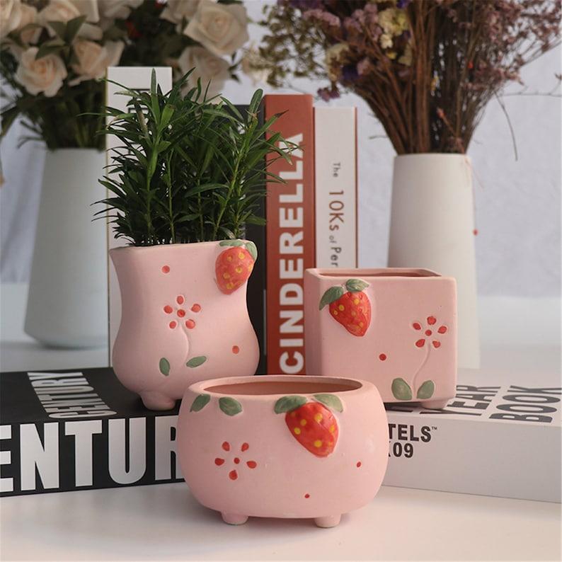 Cute strawberries planter strawberry ceramic planter small strawberry decor party mini planter