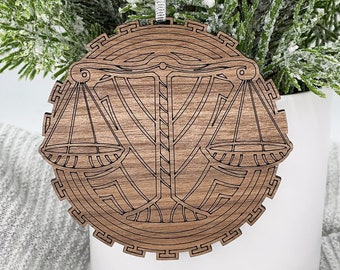 Mini painted zodiac Libra wood slice ornament