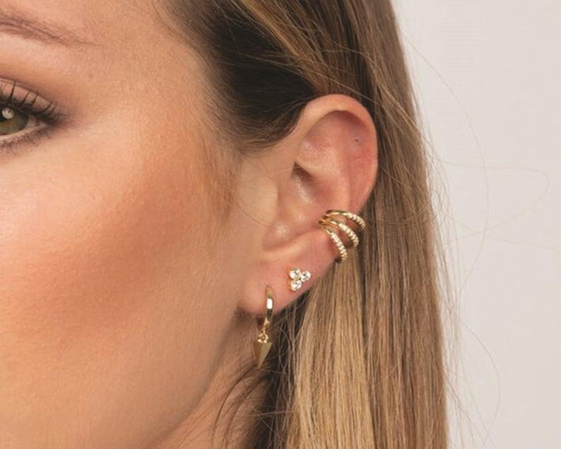 DK 100/% Genuine 925 Sterling Silver Three String Fine Zircon No Piercing Clip On Cuff Earrings 100056