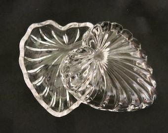 West German crystal crystal trinket box Vintage West German Bleikristall 24/% lead crystal glass heart shaped trinket box with rose pattern