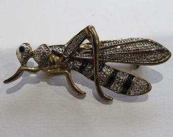 Super Cool Antique Sterling Silver or Gold Grasshopper BroochPin Badge