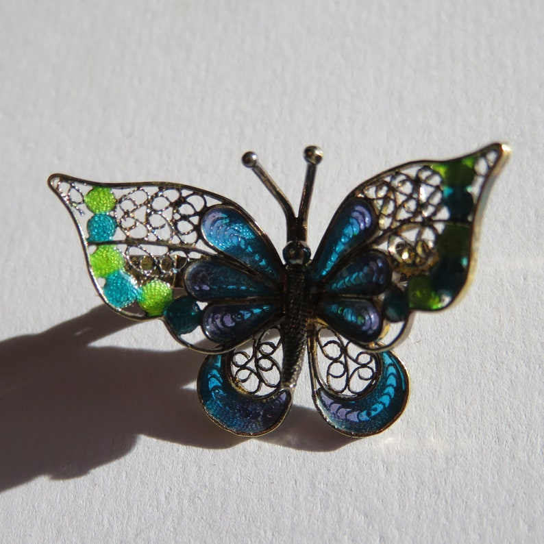 Alioto Adriana Vintage Silver and Enamel Filigree Butterfly Italian Signed