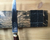 Magnetic Whisky Barrel Stave Knife Rack, Icy Loch Tweed *Knives Not Included*