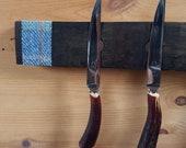 Magnetic Whisky Barrel Stave Knife Rack, Pastel Seaside Tweed *Knives Not Included*