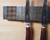 Magnetic Whisky Barrel Stave Knife Rack with Concealed Magnets, Lewis Picnic Tweed *Knives Not Included*
