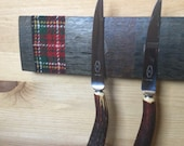 Magnetic Whisky Barrel Stave Knife Rack, Lewis Wedding Tweed *Knives Not Included*