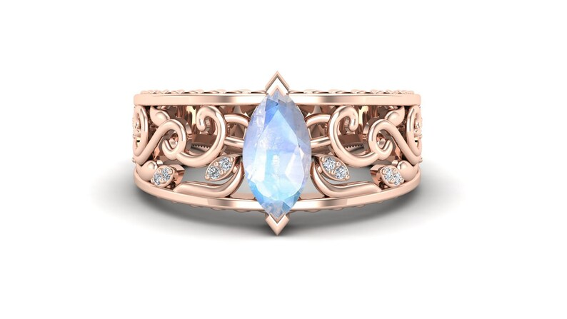 Unique Leaf Ring 1.20 cts Moon Stone Engagement Ring 14k Rose Gold Plated Filigree Ring Gift For Anniversary. Art Deco Moissanite Ring