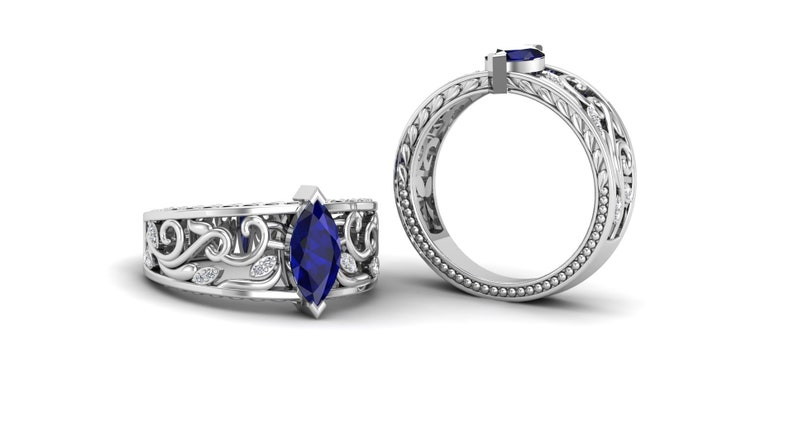 unique leaf Ring Gift For Women. Art Deco Moissanite Ring 1.15 Blue Sapphire Engagement Weeding Bridal Ring Marquise shape Filigree Ring