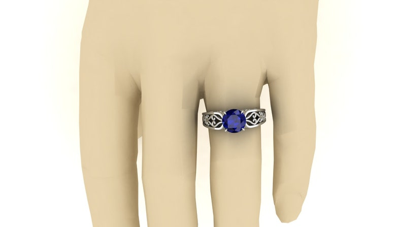 Gift For Birthday. 2.40Cts Blue Sapphire Engagement Wedding Bridal Ring Unique Round Shape Filigree Ring Vintage Art Deco Moissanite Ring