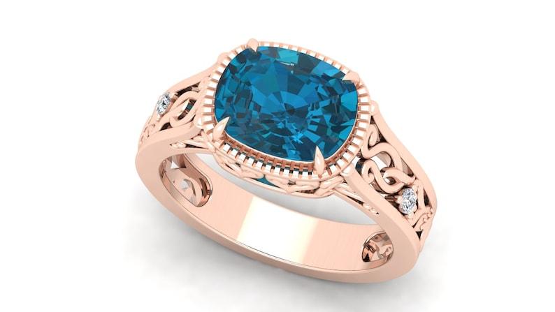 3.50cts London Blue Topaz Engagement Ring,14k Rose Gold Vermeil Unique Filigree Ring,Vintage Art Deco Moissanite Ring Gift for Anniversary.