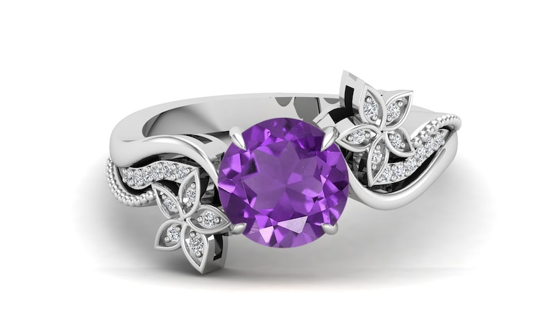 Amethyst Engagement Wedding Bridal Ring For Her Gift For Anniversary. 1.73Cts Antique Floral Flower Ring,Vintage Art Deco Moissanite Ring