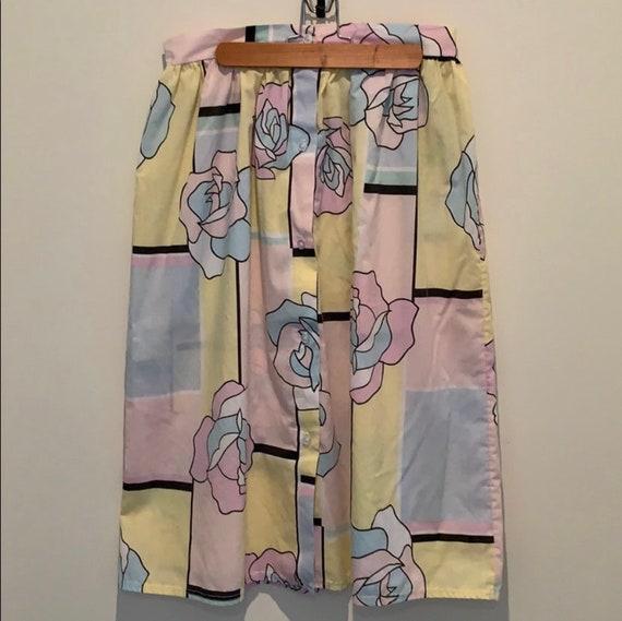Vintage 80s pastel print midi skirt