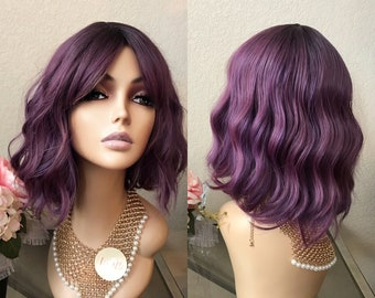 12'' purple ombre wig with bang | Little Wig Museum |short wig| retro wig  |pre style wig |cosplay wig, Halloween Wig, Halloween Costumes