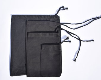 Choose Quantity 10x12 Inches Black Muslin Bags 100/% Organic Cotton Sustainable Living Single Drawstring Produce Bags