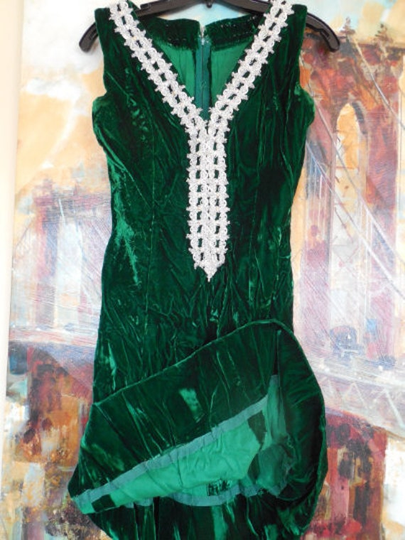 Crushed Green Velvet Dress with Crystals on Silver