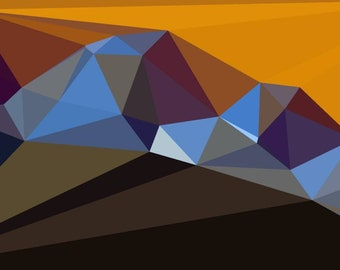 Brown and gold geometric shapes. Digital fractal print