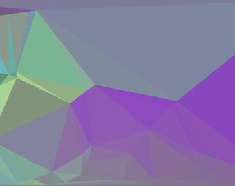 Purple and green geometric shapes. Digital fractal print