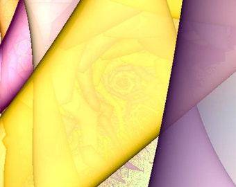 Fractal roses in purple and yellow. Digital print