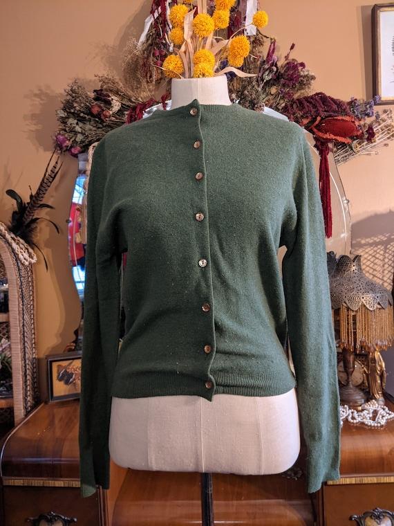 Avocado Green Wool 50s 60s Vintage Cardigan