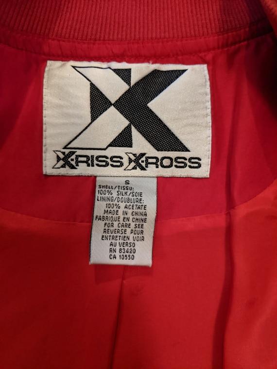 Retro 90s Silk Red Xriss Xross Bomber Jacket - image 5