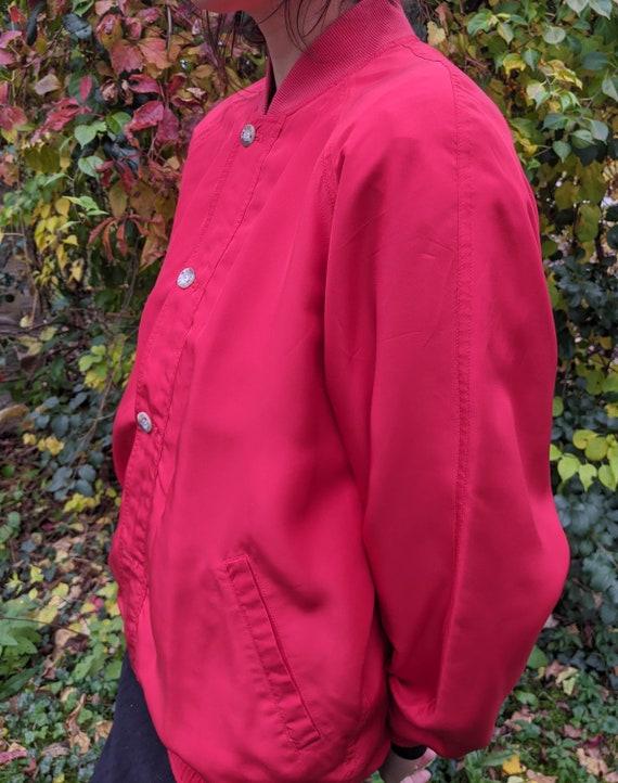 Retro 90s Silk Red Xriss Xross Bomber Jacket - image 2
