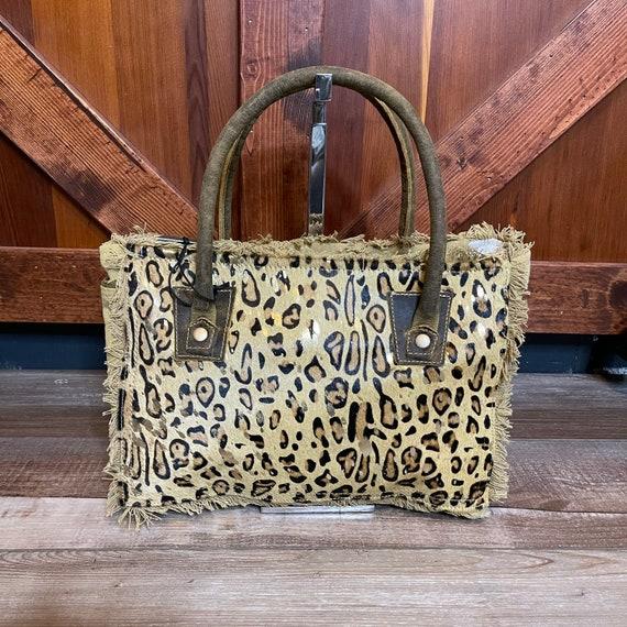 Details about  /Myra Bag Blue Eternity Tote Bag Leather Fur Hairon Canvas Large Handbag Purse