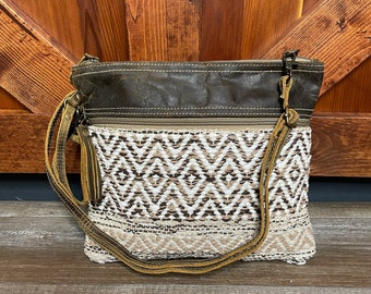 Myra Bag Contentment small crossbody purse upcycled canvas rug