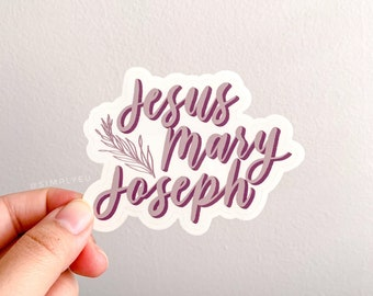 Jesus, Mary, Joseph Clear/Transparent Sticker | Muted Purple, Mauve | Catholic, Prayer, Reminders | Journals, Planners, Laptops