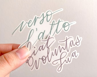 Verso L'alto and Fiat Voluntas Tua OOPSIE stickers (discounted) | Latin Prayers, Weatherproof, Decals, Journals, Cars, Laptops, Waterbottles