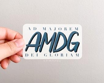 AMDG Clear Sticker | Ad Majorem Dei Gloriam, Latin, Prayers, Green, Transparent | For Laptops, Journals, Planners