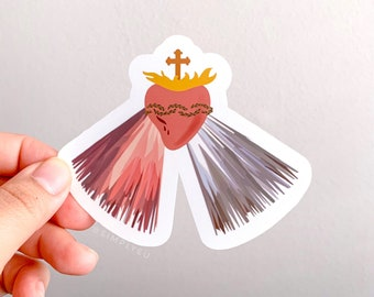 Sacred Heart/Divine Mercy Weatherproof Matte Sticker | For Journals, Planners, Vehicles, Laptops, Waterbottle Decals