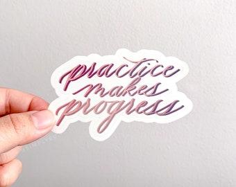 Practice Makes Progress Clear Sticker | Transparent | Encouragement and Motivation | Laptops, Journals, Planners