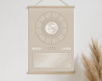 Lunar Calendar 2022 // Poster DIN A3, Moon Phases, Astrology, Wall Calendar, Appointment Calendar, Annual Planner, Gift, Decoration, Living Room, Wall Decoration