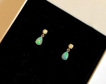 Real Opal Drop Earrings Solid 9ct Yellow Gold Opal /& Cubic Zirconia Diamond Appearance with Opal Oval Drops Bridal Jewelry