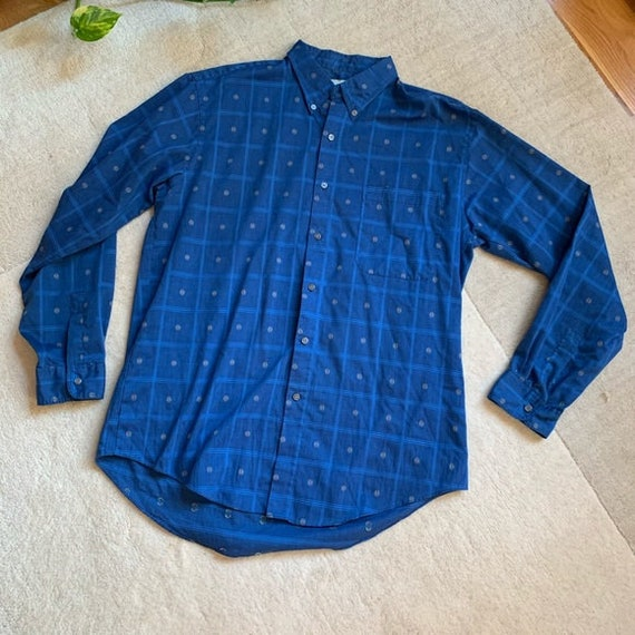 VINTAGE Levi's Button Down Blue Plaid Casual Shirt