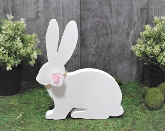 Spring Bunny, Wooden Easter Bunny, Easter Decorations, Table Top Spring Decorations, White Rabbit Decor, Brown Bunny Decor, Gray Bunny Decor