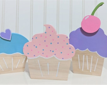 Cute Wooden Cupcakes, Set of 3 Cupcakes, Birthday Decorations, Girls Room Decorations, Sweet Decorations, Teen Room Decor, Pastel Cupcakes