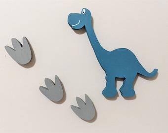 Brontosaurus Wall Hanging, Dinosaur and Footprints Nursery Decor, Dinosaur Kids Room, Brontosaurus Wall Hanging, Dinosaur Nursery Decoration