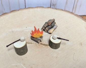 Fairy Garden Campfire Set, Fairy Marshmallow Set, Fairy Garden Accessories, Gnome Garden, Fairy Firepit, Handmade Miniatures, Mini Campfire