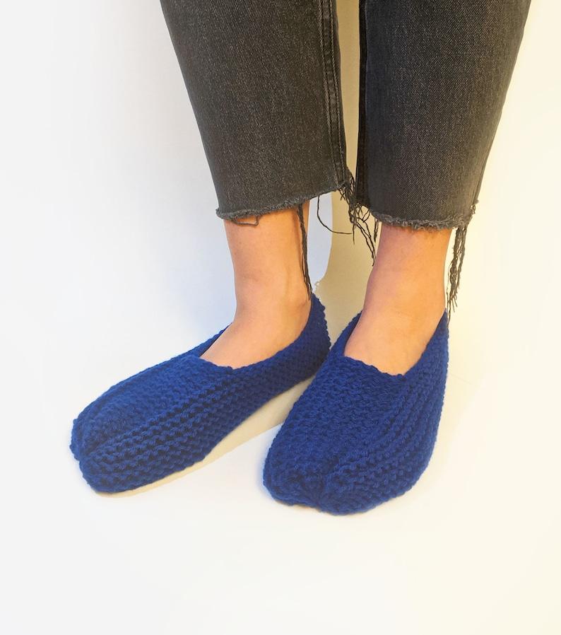 Knitted Slipper Socks Royal Blue