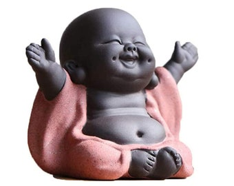 Kingzhuo A Collection of Cutie 4 Smiling Buddha Laughing Buddha Statue Adorable Figurine 4 Lovely Little Buddha Cutest Baby Buddha Great Details Giftable Make You Happy 4 Buddhas