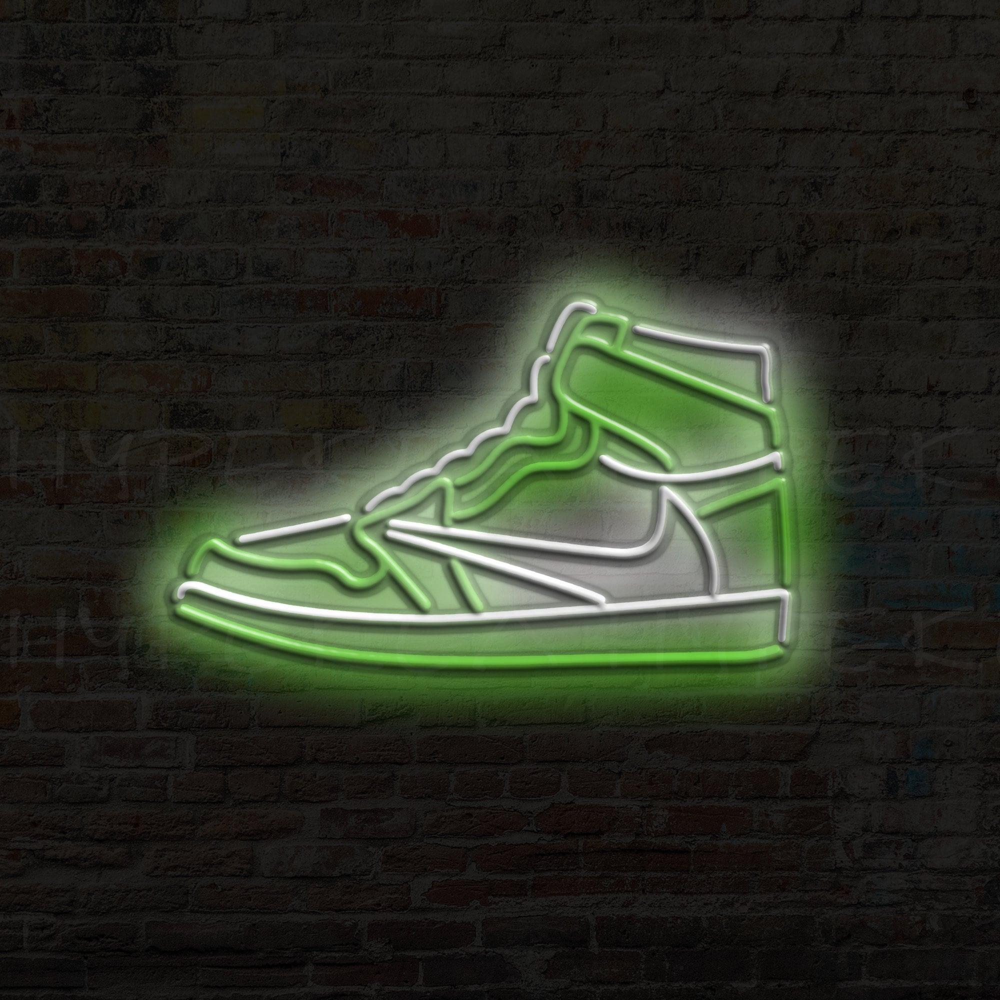 Air Jordan 1 Cactus Jack Neon Travis Scott LED sneakers shoes nike gift decoration buddy garcon custom signs art light