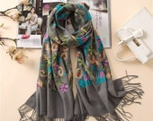 Embroidered cashmere scarf for Women, Wool Shawl, Wool Foulard, Long Scarf, Wool Wrap, Winter Scarf