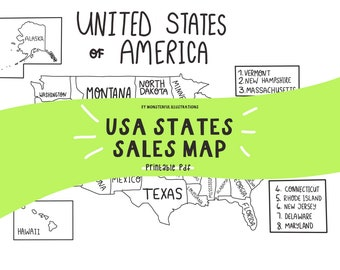 USA Sales Map, Labelled States, Download instant, Printable, Travel Map, Sales Tracker, Colouring Sheet, PDF A4, monsterfulillustrat