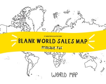 WORLD Sales Map, Blank Map, Instant Download, Printable, A4, PDF, Sales Tracker, Travel Map, Printer Friendly, Colouring Sheet,