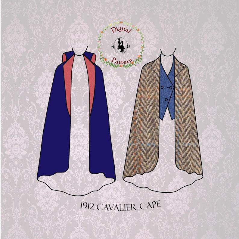 Easy DIY Edwardian Titanic Costumes 1910-1915     1912 J.P. Thornton Long Edwardian Cavalier Cape and Waistcoat Sewing Pattern | PDF Digital Vintage Sewing Pattern $16.69 AT vintagedancer.com